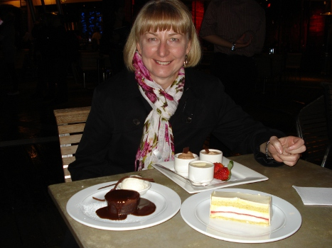 Convention - Judy at Lindt Cafe with shared desserts