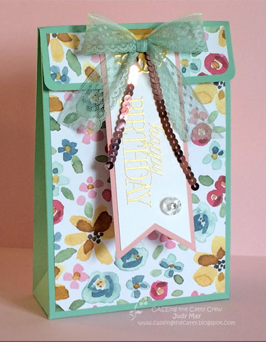 Stampin Up Gift Bag using English Garden DSP & 'Happy Birthday, Everyone' Just Judy Designs