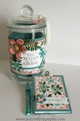 Gratitude Jar using Stampin' Up! Birthday Bouquet DSP and Botanical Builders Framelits - Judy May, Just Judy Designs