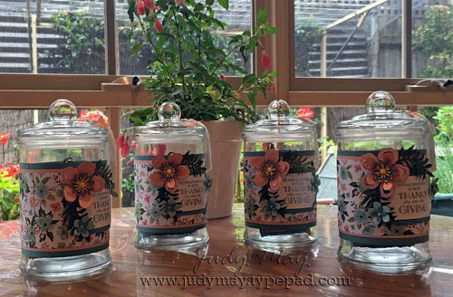 Gratitude Jars using Stampin' Up! Birthday Bouquet DSP and Botanical Builders Framelits - Judy May, Just Judy Designs