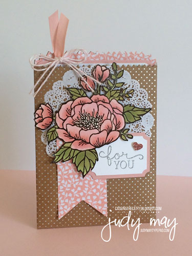 Stampin' Up! Mini Treat Bag combined Card and Gift Card with Birthday Blooms