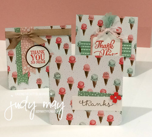 Stampin' Up! Birthday Bouquet Thank You cards - Judy May, Just Judy Designs