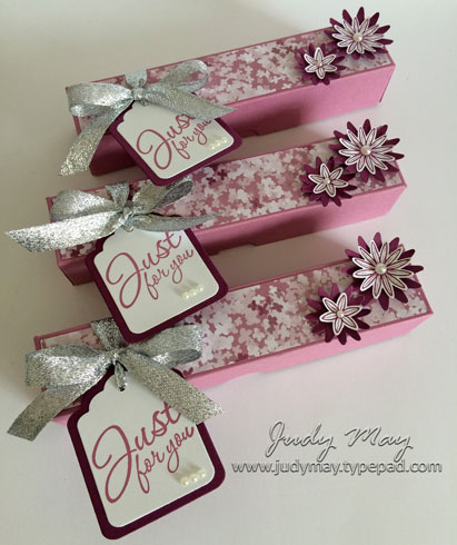 Stampin' Up! Treat Gift Box with Grateful Bunch & Blooms & Bliss DSP - Judy May, Just Judy Designs