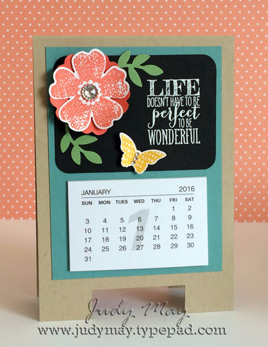 Stampin' Up! Sandwich Board Mini Calendar with Perfect Pennants - Judy May, Just Judy Designs. Tutorial Available.