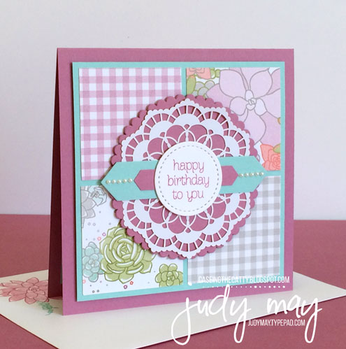 Stampin' Up! Succulent Garden DSP for CASE-ing the Catty - Judy May, Just Judy Designs
