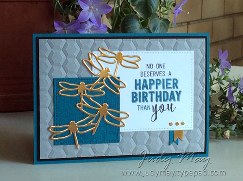 Stampin' Up! Balloon Adventures & Detailed Dragonfly Thinlits for OnStage Perth 2017 Swap - Judy May, Just Judy Designs