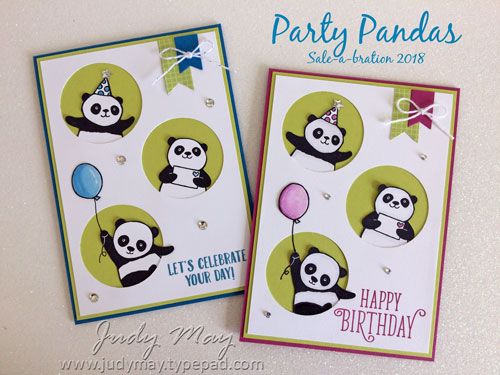 Stampin' Up! Party Pandas - Judy May, Just Judy Designs