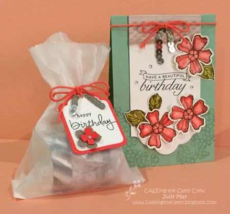 Stampin' Up! 'Birthday Blossoms' card & treat bag.