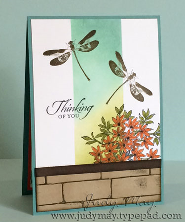 Stampin' Up! 'Awesomely Artistic', Brick Wall embossing folder. Judy May - Just Judy Designs