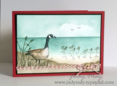 Stampin Up 'Wetlands' Sponged Background. Judy May, Just Judy Designs