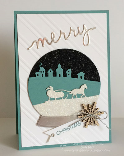 Stampin' Up! Snow Globe with Sleigh Ride Edgelits, Christmas Greetings Thinlits - Judy May, Just Judy Designs