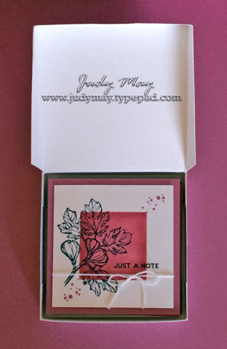 Stampin' Up! 2016-18 In Colour Note cards & Box with Fabulous Flora (Hostess) - Judy May, Just Judy Designs