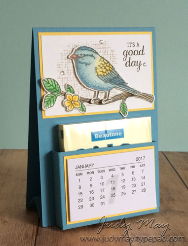 Stampin' Up! Best Birds Post-It Note Mini Calendar - Judy May, Just Judy Designs. Tutorial Available.