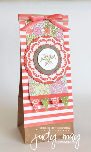 Stampin' Up! Petite Cafe Gift Bag & Succulent Garden for CASE-ing the Catty - Judy May, Just Judy Designs