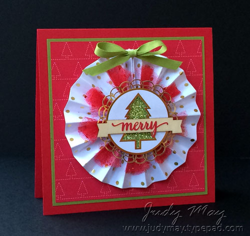 Stampin' Up! Card with rosette from Be Merry Kit - Judy May, Just Judy Designs