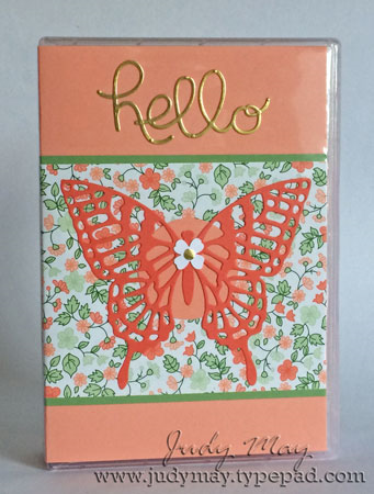 Stampin' Up! Embellished Wood Mount stamp case using 'Butterflies Thinlits' and 'Hello You' Thinlits with Gold Soiree DSP.