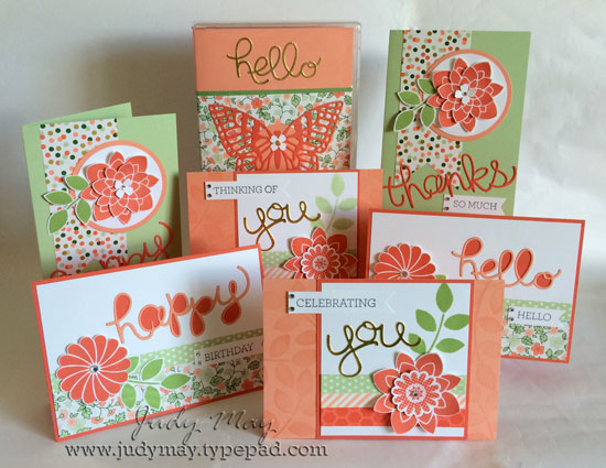 Stampin' Up! Boxed Card Set with 'Crazy About You' stamp set and 'Hello You' Thinlits and Gold Soiree DSP.