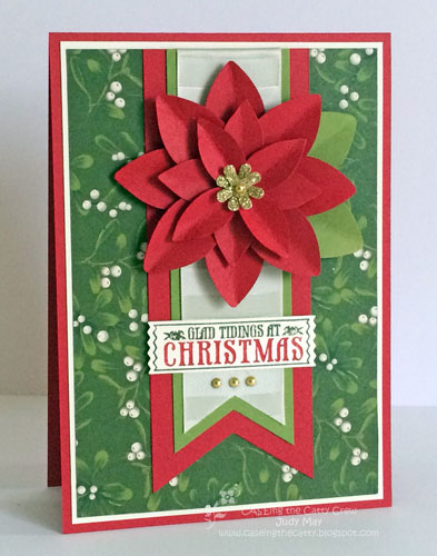 Stampin' Up! 'Home for Christmas' DSP and Festive Flower Builder Punch. Judy May, Just Judy Designs