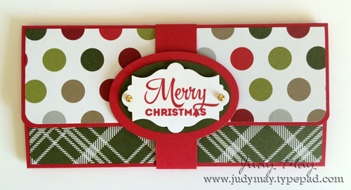 Combined Christmas Card/Currency wallet using Stampin' Up! Merry Moments DSP - Judy May, Just Judy Designs