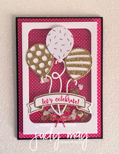 Stampin' Up! Balloon Pop-Up Thinlits Shaker Card for CASE-ing the Catty CTC125 - Judy May, Just Judy Designs