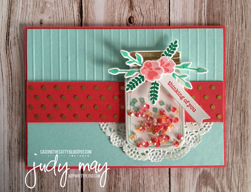 Stampin' Up! Jar of Love Shaker Card for CASE-ing the Catty - Judy May, Just Judy Designs