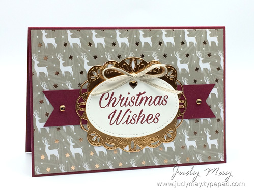 Stampin' Up! Joyous Noel DSP, Stitched Accents & Peaceful Poinsettia - Judy May, Just Judy Designs