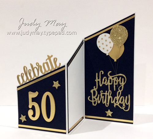 Stampin' Up! Tri-Fold Milestone Birthday Card - Judy May, Just Judy Designs