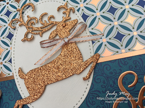 Stampin' Up! Brightly Gleaming DSP & Detailed Deer Dies - Judy May, Just Judy Designs, Melbourne