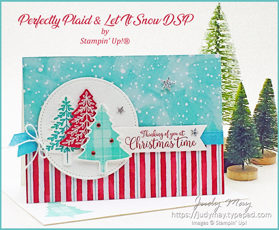Stampin' Up! Perfectly Plaid & Let it Snow DSP - Judy May, Just Judy Designs, Melbourne