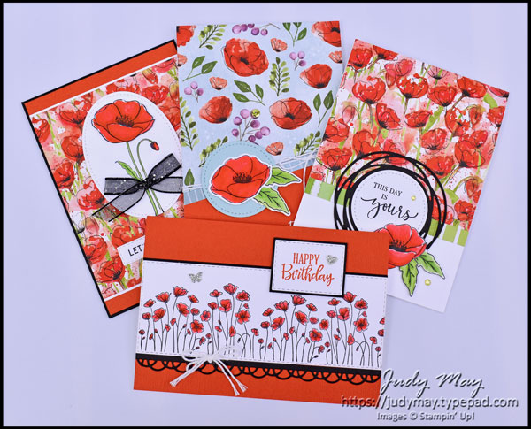 Stampin' Up! Peaceful Poppies Suite - Judy May, Just Judy Designs, Melbourne #paintedpoppies