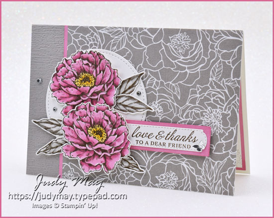 Stampin' Up! Gray Granite Colour Creations Showcase with Prized Peony - Judy May, Just Judy Designs, Melbourne