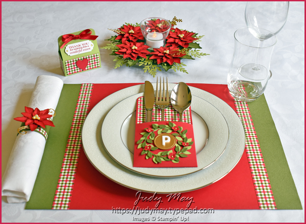 Stampin' Up! Heartwarming Hugs Christmas Table Setting - Judy May, Just Judy Designs, Melbourne