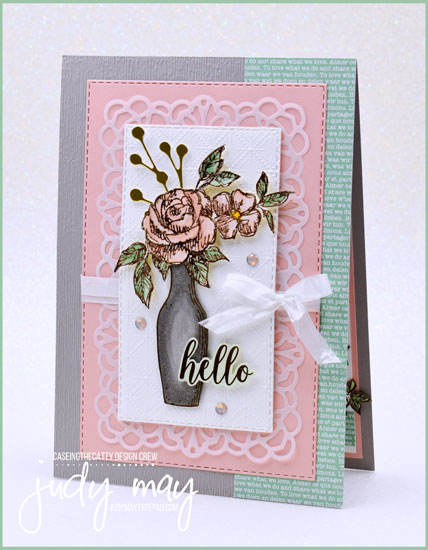 Stampin' Up! Fancy Phrases & Basket of Blooms Feminine Frienship Card - Judy May, Just Judy Designs, Melbourne
