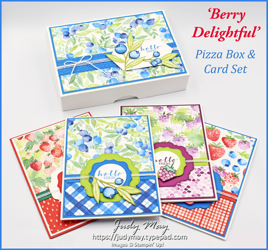 Stampin' Up! Pizza Box & Set Cards using Berry Delightful DSP & Berry Blessings Stamp set | Sale-a-bration 2021 | Tutorial Available |  Judy May, Just Judy Designs, Melbourne