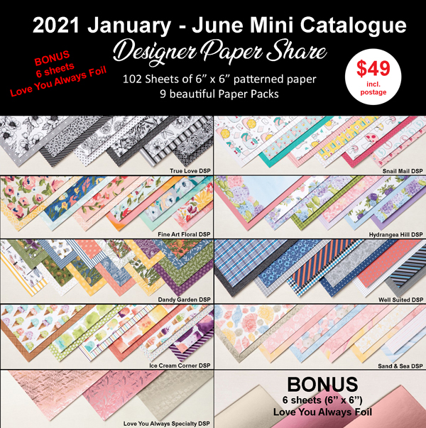 2021 Jan-June Mini Catalogue Paper Share - Judy May, Just Judy Designs, Melbourne